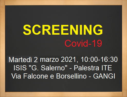 Lavagna Avvisi Screening 2 Marzo